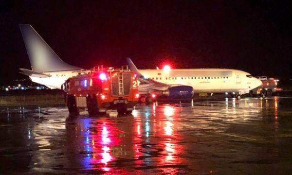 Uçakta yangın paniği