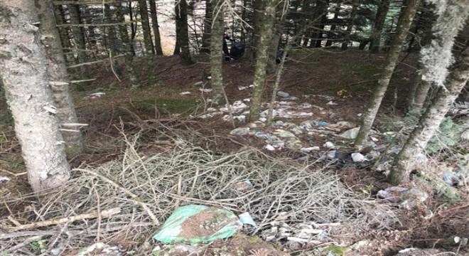 Piknikçilerin neden olduğu çöp dağını temizlediler